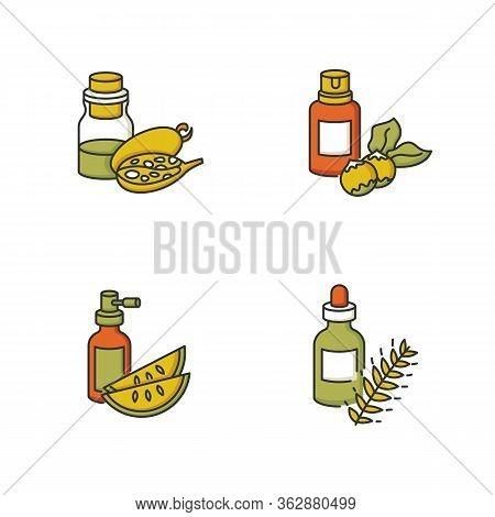 Hair Oils Rgb Color Icons Set. Macadamia Raw Nuts For Oragnic Cosmetic. Kalahari Melon Seed Extract