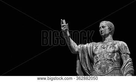 Caesar Augustus Nerva Emperor Of Ancient Rome Bronze Statue In Imperial Forum (black And White With