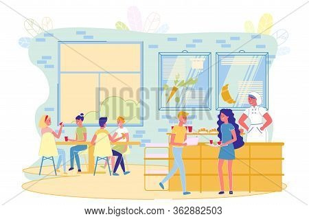 Children Eating In School Cafeteria Flat Cartoon Vector Illusration. Girls And Boys Sitting At Table