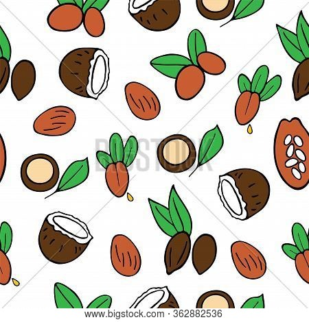 Cosmetic Oils Seamless Pattern. Nuts From Which Squeeze Oils. Nourishing Oils For Skin Beauty. Vecto