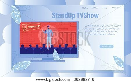 Comedy Stand Up Tv Show Performance. Young Comedian Actor Acting On Scene. Man Performing Humor Mono