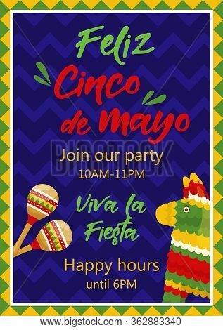 Cinco De Mayo Invitation Banner, Poster For Mexican Traditional Fiesta. Pair Of Maracas And Donkey P
