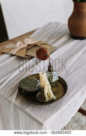 Tray With Candle, Perfume, Jewelry Box On The Dressing Table. Girl Accessories. Interior Design