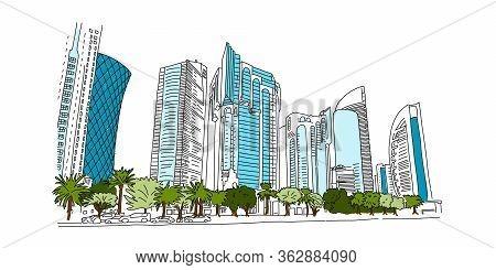 Landmark Street Capital Qatar, Beautiful Doha. Modern Blue Skyscrapers And Green Palm Trees. Pearl P