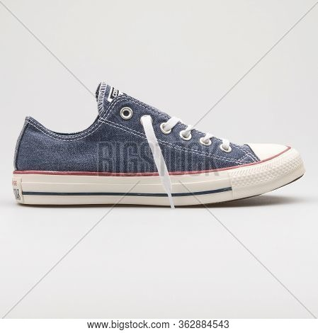 Vienna, Austria - January 12, 2018: Converse Chuck Taylor All Star Ox Navy Blue And White Sneaker On