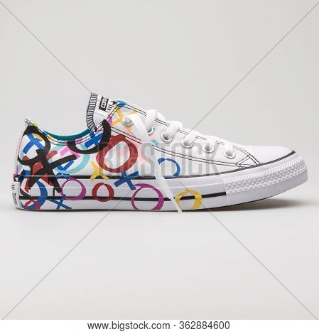 Vienna, Austria - January 12, 2018: Converse Chuck Taylor All Star Ox White And Multicolor Sneaker O
