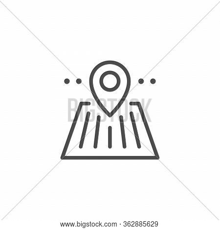 Plantation Location Line Outline Icon Isolated On White. Pin On Field Sign. Pointer, Navigation, Mar