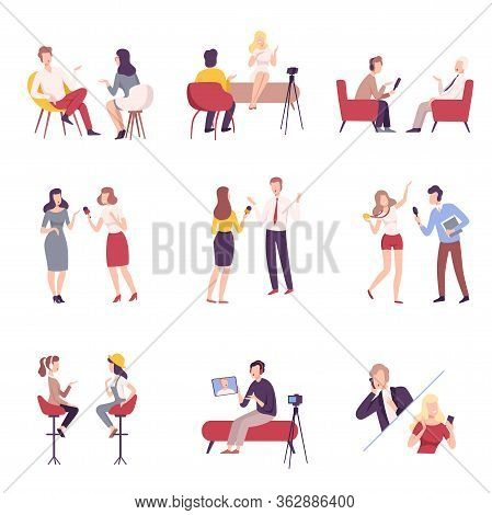 Journalists Interviewing Business People, Celebrities Or Politicians Set, Communication, Business Me