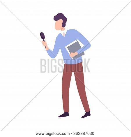 Male Journalist Making Interview, Professional Reporter Character With Microphone, Press Conference,