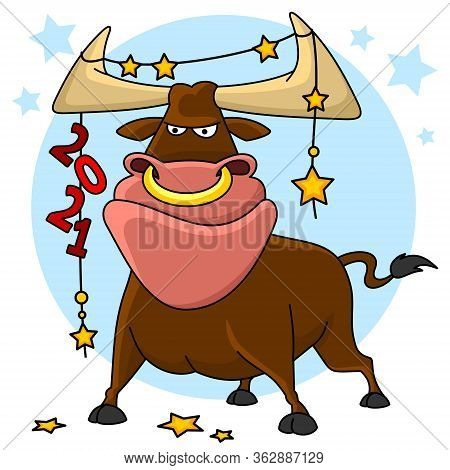 Illustration Of A Bull. The Symbol Of 2021 Chinese New Year. A Bull Stands And On His Horns Hangs A