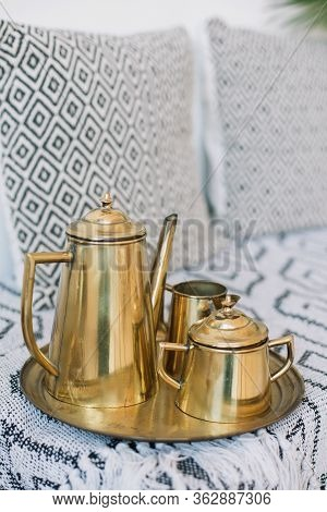 Elegant Antique Golden Coffee Set With Coffee Pot And Sugar Bowl And Tray. Golden Teapot.  Antique G