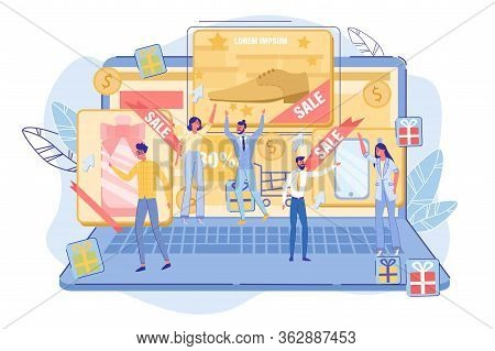 Thematic Contextual Ppc Advertising Digital Campaign. Tiny People User Standing On Big Laptop Click