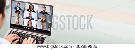 Webinar Video Conferencing On Laptop. Online Meeting Conference
