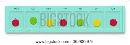 Pill Organizer With Apple Shaped Pills Instead Of Real Drugs. An Apple A Day Keeps The Doctor Away.