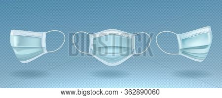 Medical Mask Or Surgical Mask Isolated On Transparent Background. Medical Mask Isolated Various Angl