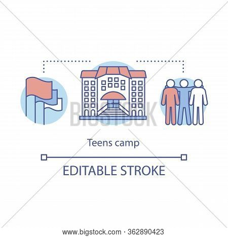 Teens, Children Camp Concept Icon. Summer Youngster Club, Community Idea Thin Line Illustration. Tee