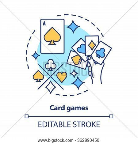 Card Games Concept Icon. Poker Blackjack Idea Thin Line Illustration. Playing Cards Suits, Aces. Gam