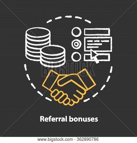 Casino Referral Bonuses Chalk Concept Icon. Reward Program Idea. Referral Awards, Incentives And Ben