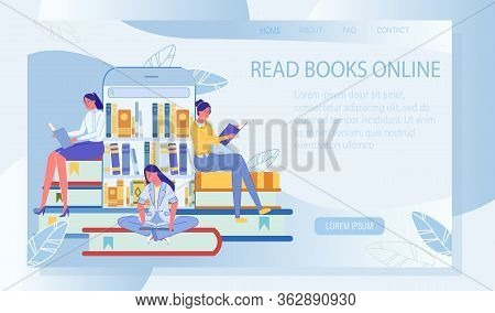 Audio Book And Online Reading Service. Landing Page Design With Happy People Reader Enjoy Educationa