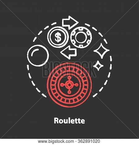 Roulette Chalk Concept Icon. Online Gambling Idea. Casino, Game Of Chance. Betting, Fortune Wheel. V