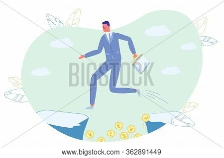 Businessman Character Holding Briefcase In Hand Jumping Over Rock Gorge With Money Gold Coin Currenc