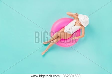 Full Length High Angle Top Above View Photo Of Gentle Lady Bronze Skin Sitting Swimming Pool Big Lif