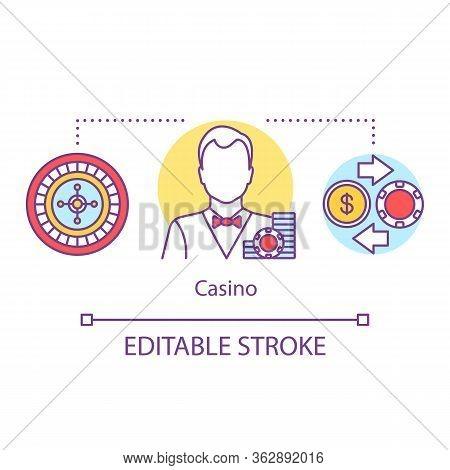 Casino Concept Icon. Croupier Card Dealer Idea Thin Line Illustration. Poker, Roulette Games, Bettin