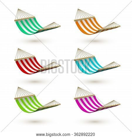 Set Of Colorfuk Hammock Template. Striped Hammocks. Camping Or Picnic Relaxation. Tourism Or Vacatio