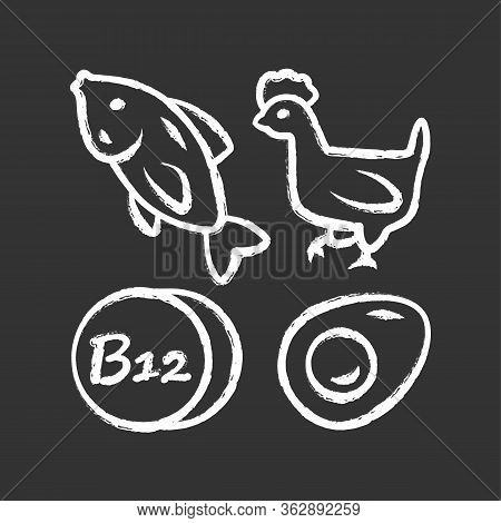 Vitamin B12 Chalk Icon. Fish, Poultry And Egg. Healthy Eating. Cobalamin Natural Food Source. Proper