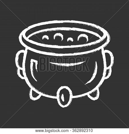 Witch Cauldron Chalk Icon. Brew Potion. Wicked Witchcraft Sorcery. Witch Soup. Iron Pot, Boiler With