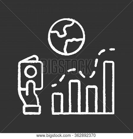 Immigration Rate Chalk Icon. Business Analysis, Analytical Research. Data Representation. Internatio