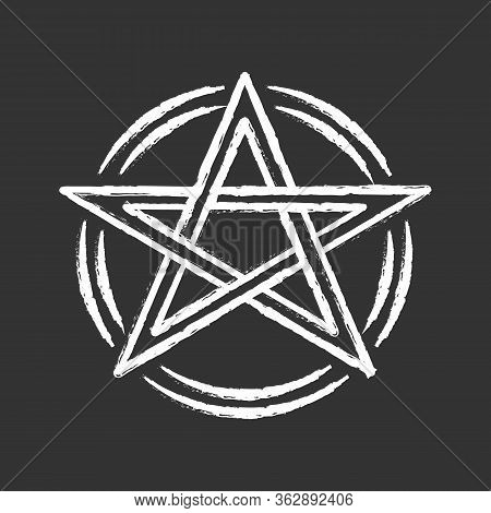 Pentagram Chalk Icon. Occult Ritual Pentacle. Devil Star. Satanic Cult, Wiccan Pagan Symbol. Witchcr