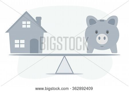 Housing Loan Market Sample Houses And Balance Piggy Bank On The Seesaw Real Estate Concepts. Vector