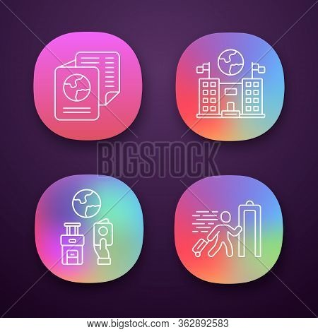 Immigration App Icons Set. Consulate Building. Travel Documents, Security Check. Trip Equipment. Ref