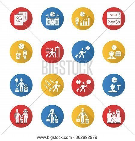 Immigration Flat Design Long Shadow Glyph Icons Set. Travel Abroad. Security Check. Trip Planning, H