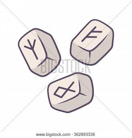 Rune Stones Color Icon. Scandinavian, Nordic Runestones. Viking Alphabet Stones With Runic Inscripti