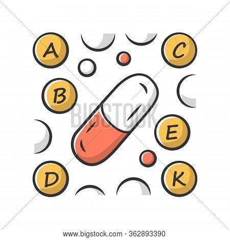 Vitamin Pills Color Icon. A, B, C, D, E, K Multi Vitamins Complex. Multivitamin Medication. Vital Mi