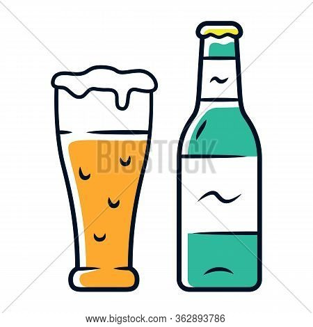 Beer Color Icon. Uncorked Bottle And Glass Of Beverage. Bottled And Draft Lager. Alcoholic Drink. Br