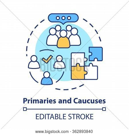 Elections Concept Icon. Primaries And Caucuses Voting Day Idea Thin Line Illustration. Official, Gov