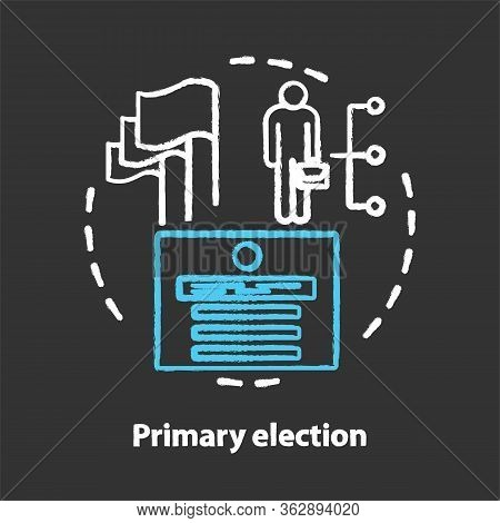 Elections Chalk Concept Icon. Primary Election, Ballot Idea. Electorate Choosing New Representers Of