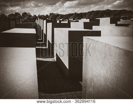 Berlin/germany - April 21, 2014 : Memorial To The Murdered Jews Of Europe. Black And White Photograp
