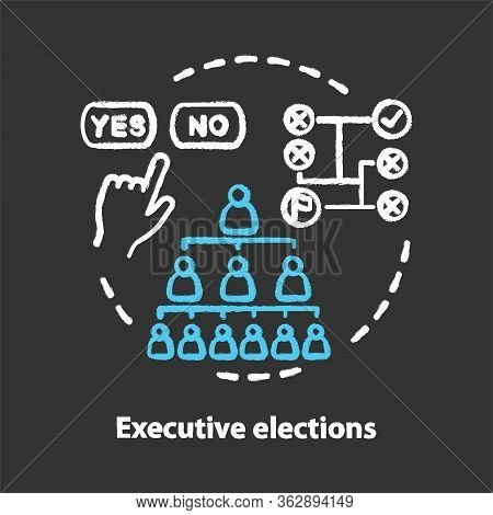 Executive Elections Chalk Concept Icon. Executive Branch, Authority Hierarchy Idea. Choosing New Fed