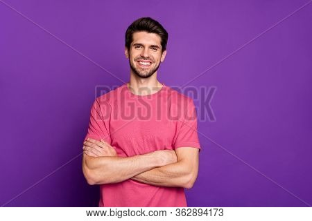 Portrait Of Charming Content Guy Worker Cross Hands Ready Decide Choose Work Decisions Choice Soluti