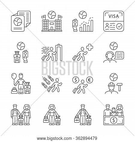 Immigration Linear Icons Set. Travel Abroad. Trip Planning, Vacation Organization. Refugee Help. Mig