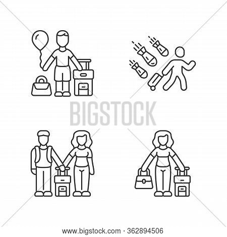 Refugees Linear Icons Set. Couple, Kid Travel Abroad With Suitcase. Tourist, Traveler. Family Trip.