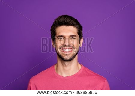 Close-up Portrait Of His He Nice Attractive Cheerful Cheery Glad Brunette Unshaven Guy Isolated Over