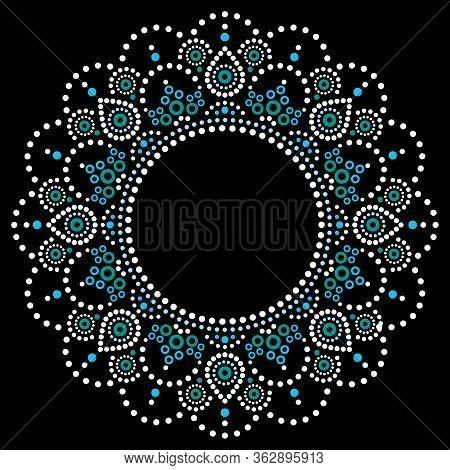 Mandala Aboriginal Dot Painting Tribal Vector Design, Boho Style Australian Dot Art Pattern In White