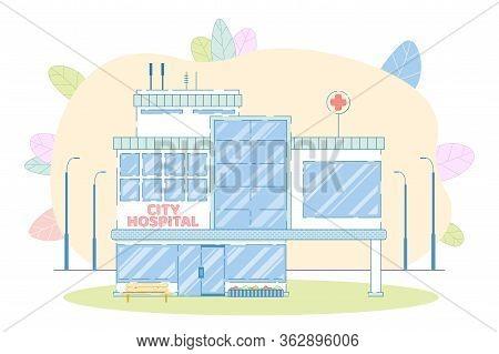 City Hospital Building. Medical Institution Facade Construction. Cartoon Healthcare Architectural Lo