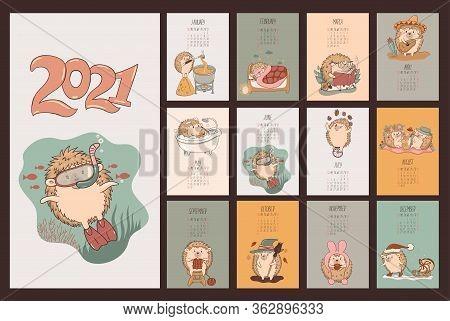 Calendar Of Cute Kawaii Hedgehogs 2021. Vector Image.