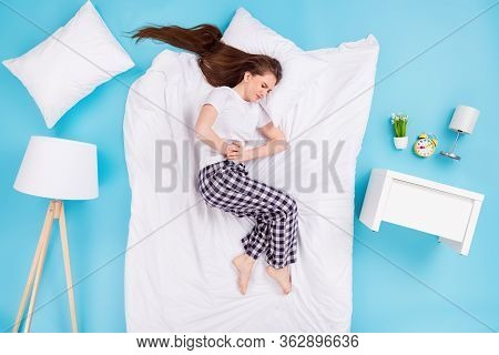 Full Body High Angle Top Above Flat Lay View Profile Photo Of Hurted Lady Lying Pillow Blanket Bedro